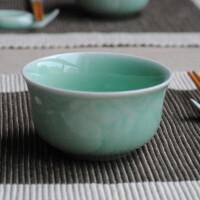 陶瓷故事 陶瓷餐具青瓷牡丹饭碗2只 龙泉窑传统技艺含天然矿物釉均码粉青均码