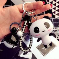 卡通情侣汽车钥匙扣女创意铃铛小挂件可爱包包钥匙圈环链礼品
