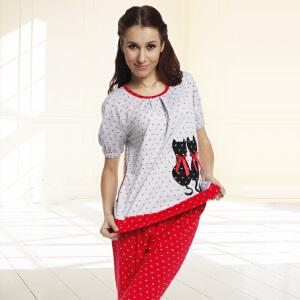 金丰田夏季女士针织可爱卡通小花猫短袖睡衣家居服套装1544