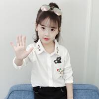 2019新款韩版儿童秋季上衣女孩秋装衣服长袖白色衬衣女童洋气衬衫