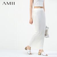 AMII[极简主义]秋季新品女修身大码H型包臀针织毛线半身裙11570883
