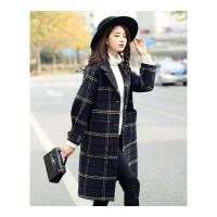 秋冬格子毛呢大衣女中长款新款冬装显瘦呢子茧型毛呢外套女装