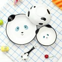 【优选】创意可爱卡通动物风格手绘儿童陶瓷环保餐具碗盘勺四件套装