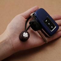小叶紫檀汽车钥匙扣挂件 创意钥匙带链饰品四叶草男女款