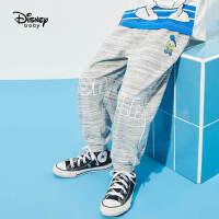 超品日【2件4折】迪士尼童装男童针织运动裤2021夏季新款洋气儿童宽松针织长裤子潮