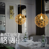 后现代餐厅吧台金色电镀镂空吊灯创意咖啡厅服装店甜品店不锈钢灯 金色电镀镂空吊灯