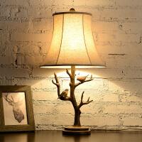 欧式客厅书房艺术创意复古台灯卧室床头灯美式乡村简约 小鸟台灯 树杈小鸟台灯 美式色