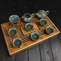 龙泉青瓷茶具套装家用整套陶瓷功夫茶具茶杯茶壶冰裂茶具 10件
