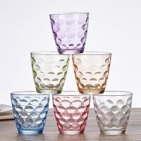 彩色珠点玻璃水杯圆形创意杯子家用炫彩耐热玻璃杯套果汁杯个性