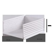 衣服收纳箱抽屉式收纳筐塑料分隔多层衣橱整理箱衣柜收纳盒置物架 灰白 小号 1个