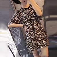 欧洲站2020春夏季女士装新款ins潮短袖t恤打底衫豹纹中长款上衣服