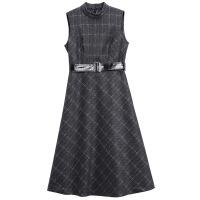 秋冬季新款立领背心裙显瘦打底中长款格子毛呢连衣裙女装 格纹