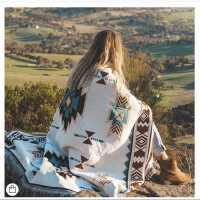 披肩几何图案复古波西米亚风沙发毯空调盖毯针织线毯装饰毯挂毯子