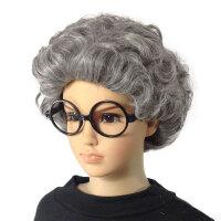 儿童假发舞台道具表演出老太太假发中老年人奶奶花白假发短卷发 花白 儿童款