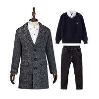 童�b男童秋冬�b加�q套�b2020新款�和�洋�馊�件套中大童呢大衣