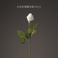 仿真花玫瑰花假花绢花摆放花卉家居装饰品客厅餐厅插花花艺摆件设情人节礼物 白色 玫瑰单支
