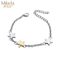梦克拉 甜美系百搭钨金星星形状手链女 星语心愿 时尚钨金饰品