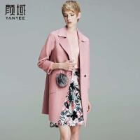 颜域品牌女装2017冬季装新款女士羊毛大衣中长款纯色宽松呢子外套