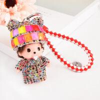 韩国创意可爱奇奇镶钻水晶汽车钥匙扣女包包挂件节日小礼品