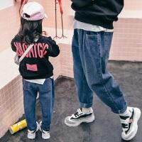 女童牛仔裤秋冬装时髦中大儿童休闲老爹长裤子