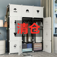 衣柜现代简约简易衣柜出租房用家用卧室布艺衣橱挂仿实木收纳柜子