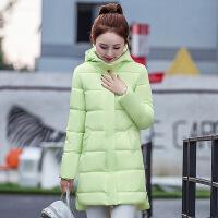 冬季韩版棉衣女中长款学生修身棉袄加厚羽绒外套女装潮 浅绿色 M