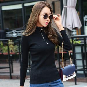 半高领休闲拉链套头毛衣女2018韩版新款秋冬季内搭针织打底衣服