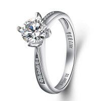 梦克拉 18K金钻戒女戒指1克拉婚戒 爱之精灵 结婚钻石女戒 可礼品卡购买