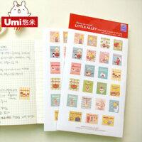 UMI贴纸 韩国可爱卡通邮票贴纸 粘纸 立体贴纸 日记贴纸 贴画