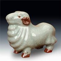 景德镇陶瓷花瓶钧瓷仿古官窑冰片羊生肖造型摆件现代中式工艺品