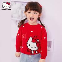【3件3折券后预估价:86.1元】HelloKitty童装2020秋冬款女童可爱套头毛衣儿童毛衫上衣