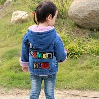 女童外套秋冬季宝宝加厚上衣韩版童装加绒装男童2一8岁儿童牛仔衣