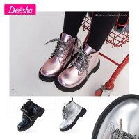 【限时抢 券后预估价:79】笛莎童装女童靴子冬中大童儿童洋气皮靴小女孩马丁靴