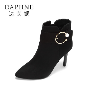 Daphne/达芙妮冬新款短靴 潮流时尚个性细跟高跟尖头及踝靴女 支持专柜验货 断码不补货
