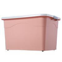 特大号衣服收纳箱塑料整理箱大号家用有盖储蓄储物箱子书箱三件套