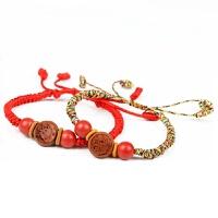 宝宝儿童婴儿桃木红绳手链 五彩绳生肖桃核本命年手串 红绳款 属相马