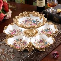 欧式果盘摆件双层干果盘创意家居客厅茶几装饰品家居软装时尚果盆