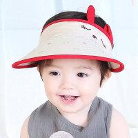女童大檐帽男童夏季空顶帽沙滩帽宝宝遮阳帽子儿童凉帽太阳帽