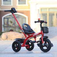 儿童三轮车脚踏车1-2-3-5-6岁大号带斗男女孩轻便手推宝宝脚蹬车 红色推把安全带顶配 防爆钛空轮二合一