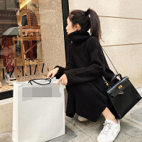 高领毛衣女套头中长款2018新款韩版宽松过膝秋冬季学生针织连衣裙