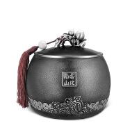 锡茶叶罐 大号福寿安康锡罐锡器 金属密封储茶罐 商务礼品支持定制 图片色
