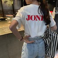 短袖女上衣夏季新款韩国前后字母印花宽松T恤学生显瘦中长款体恤
