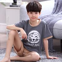 男孩中大童家居服套装薄款男童睡衣夏季棉短袖童装儿童睡衣