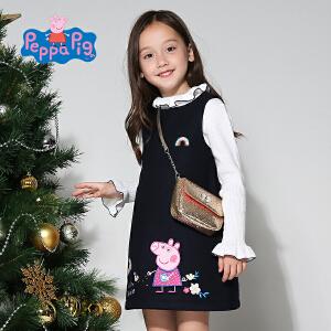 【3件3折到手价:68.7】小猪佩奇童装女童冬装佩佩猪毛呢加厚连衣裙中小童背心裙