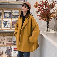2018流行呢子大衣女秋冬新款韩版加厚茧型中长款森系毛呢外套学生 均码