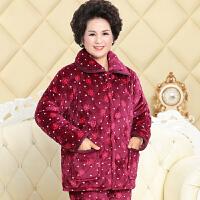 冬季睡衣女士加厚保暖套装法兰绒夹棉家居服中老年人妈妈婆婆棉袄