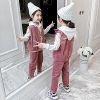 2019秋季新款洋气童装儿童灯芯绒裤子三件套女童套装