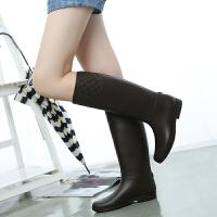女士雨靴超显瘦雨鞋高筒雨靴骑士马靴平跟长筒水鞋女士马丁靴