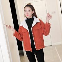 2018冬季新款韩版秋装加绒加厚宽松短款学生保暖羊羔毛牛仔外套女