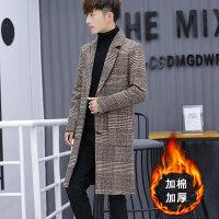 秋冬季男士格子风衣中长款毛呢大衣韩版潮流呢子外套英伦加厚男装 918咖棕色 千鸟格